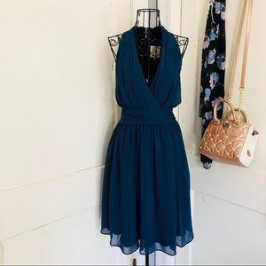 ModCloth halter V- Neck pleated navy midi dress